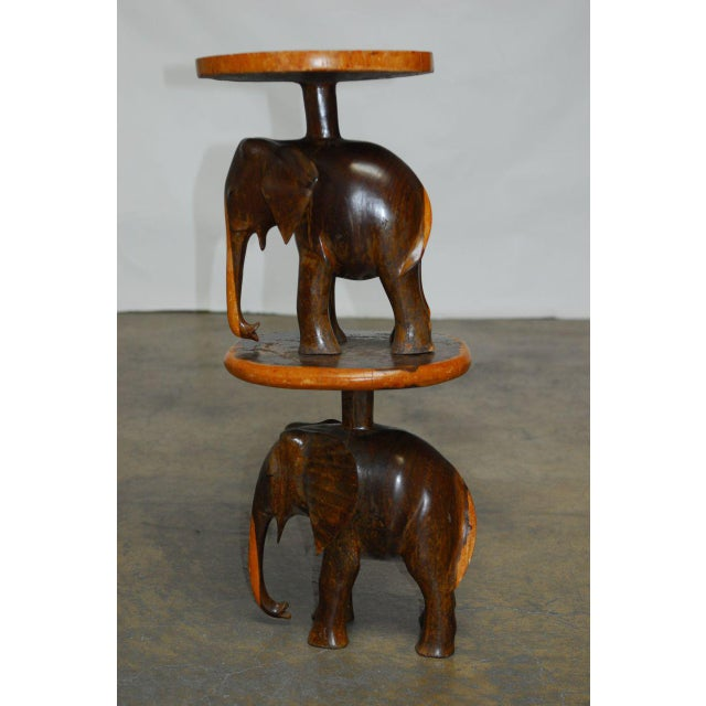 Wood Carved Elephant Drink Tables - a Pair For Sale - Image 7 of 7