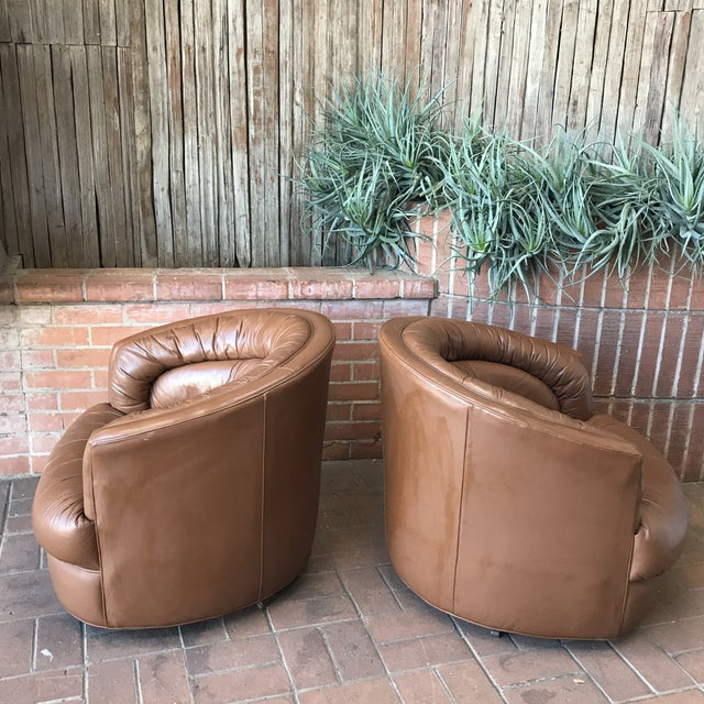 1970s 1970s Brown Leather Swivel Barrel Chairs - a Pair For Sale - Image 5 of 7