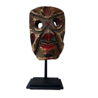 1950s Expressionism Hand Carved Painted Mexican Ceremonial Mask For Sale