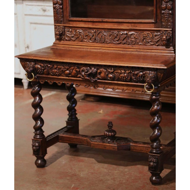 Figurative Mid-19th Century French Louis XIII Heavily Carved Oak Secretary Bookcase Desk For Sale - Image 3 of 13