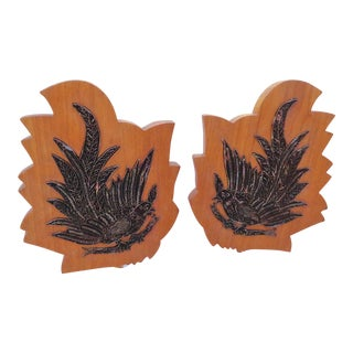 1950s Boho Metal Carved Indian Bird Stamp Decor - a Pair For Sale