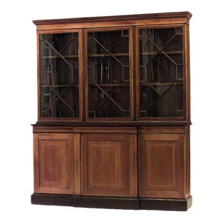 Sheraton Mahogany & Satinwood Breakfront Cabinet For Sale