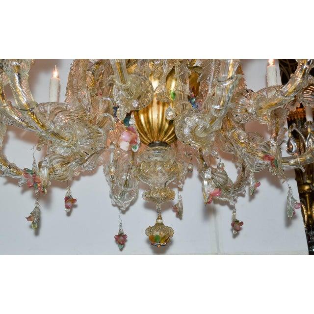 Antique Venetian Multi-Color Blown Glass Chandelier For Sale - Image 4 of 11