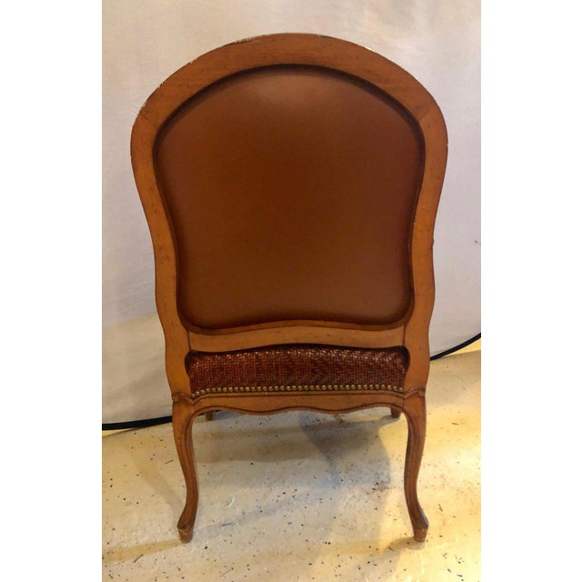 1970s Brown Suede and Tweed Leather Bergère Arm or Office Desk Chair Brunschwig & Fils For Sale - Image 5 of 11