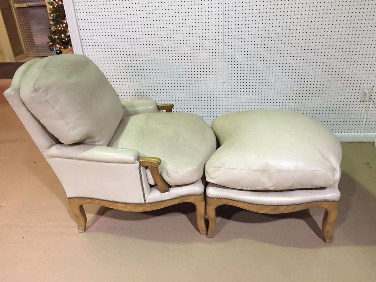 Leather French, Louis XIV Style Bergere Chair And Ottoman. Leather Is Soft  And The