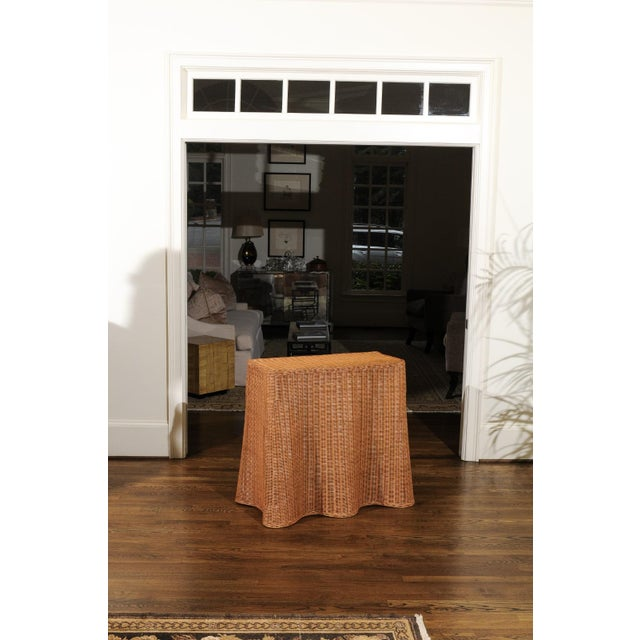Tan Stellar Vintage Trompe l'Oiel Drape Wicker Console Table For Sale - Image 8 of 13