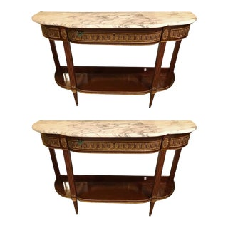 Jansen Style Marble-Top Bronze Mounted Consoles - a Pair For Sale