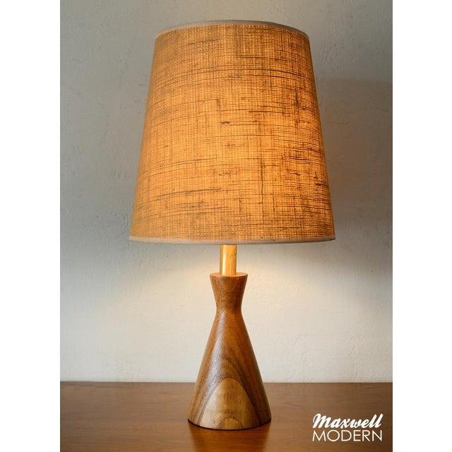 Danish Modern Danish Modern Turned Wood Cone Table Lamp For Sale - Image 3 of 5