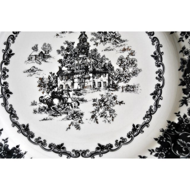 Staffordshire Toile Black Staffordshire Plate, Equestrian Trasferware Tabletop Platter For Sale - Image 4 of 7