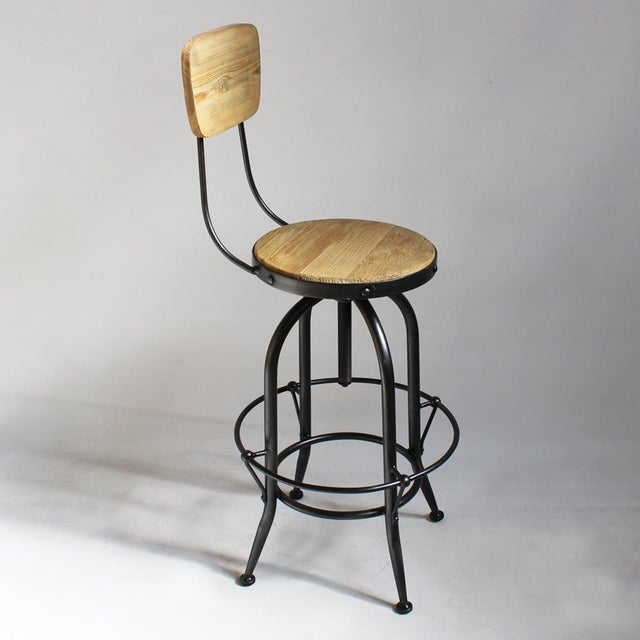 Reclaimed Wood & Iron Barstool - Image 3 of 4