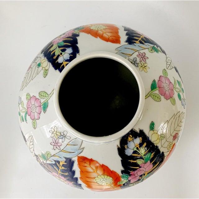 Mottahedeh Vintage 1950s Tobacco Leaf Porcelain China Vase Jar Chinese Export For Sale - Image 4 of 10