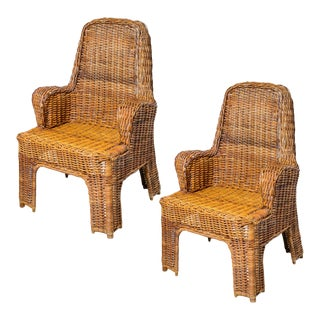 Italian Vintage Woven Rattan High Back Arm Chairs, A-Pair For Sale