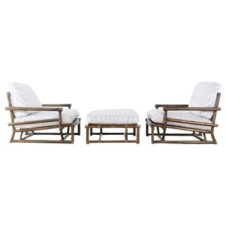 Pair of McGuire Bamboo Rattan Low Armchairs With Ottoman For Sale