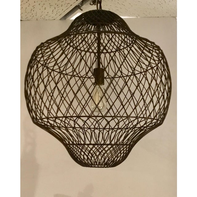 2010s Currey & Co. Trellis Iron Pendant For Sale - Image 5 of 5