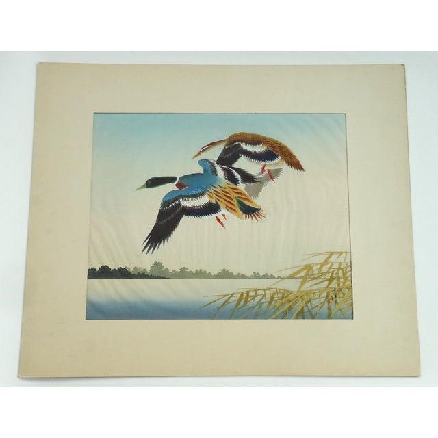 Vintage Japanese Ducks Silk Painting - Image 5 of 5