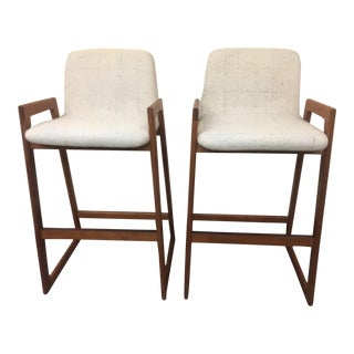 1960s Mid-Century Modern Beige Upholstered Barstools - a Pair