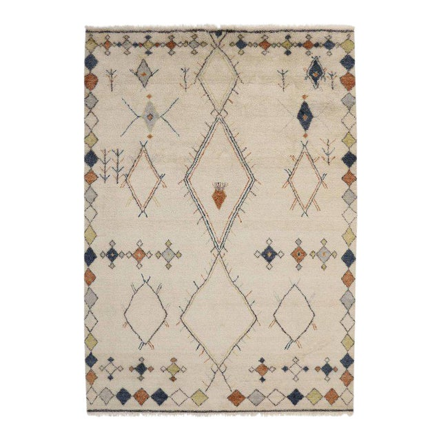 Contemporary Moroccan Style Area Rug with Modern Tribal Design For Sale
