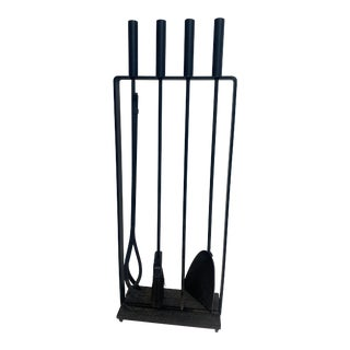 Mid Century Modernist Black Iron Fireplace Tool Set by Pilgrim - 5 Pieces For Sale