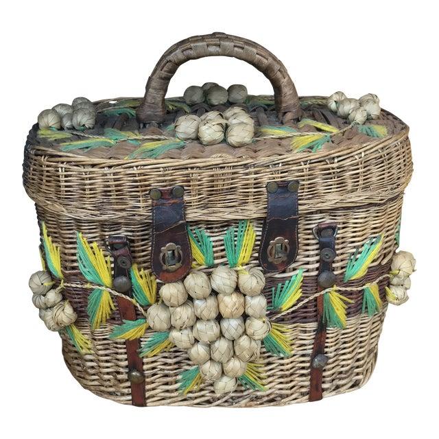 1950s Vintage Picnic Basket For Sale