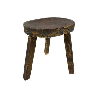 Wooden Folk Art Stool For Sale