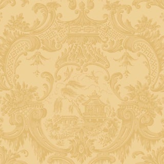 Chippendale China Classic Damask Style Wallpaper Sample For Sale