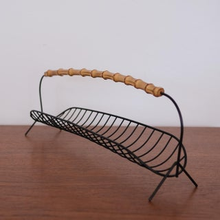 Wire Fruit Basket With Cane Handle, 1950s Preview
