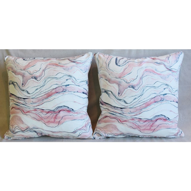 Pair of custom-tailored pillows in blush-pink, blue and white marbleized stone-swirl print cotton fabric. Bone-white...