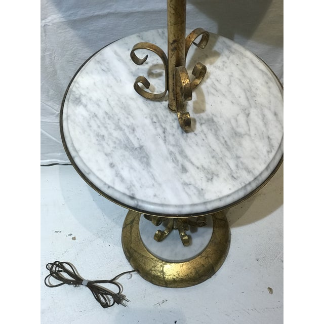1960s Made in Italy Hollywood Regency Marble Table Floor Lamp For Sale - Image 5 of 7