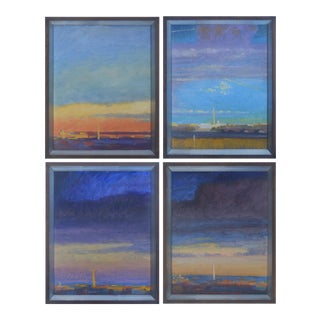 Sky-Scapes of Washington DC by Tom Wise, Framed Quartet, Oil on Board For Sale