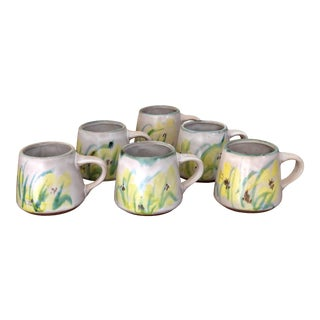 1970s Handmade Pottery Mugs - Set of 6 For Sale