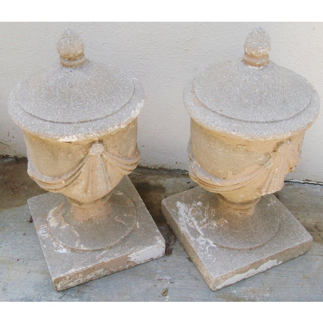 Large Estate Concrete Garden Finials - Pair - Image 5 of 11