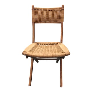1950s Vintage Danish Modern Rope Folding Chair For Sale