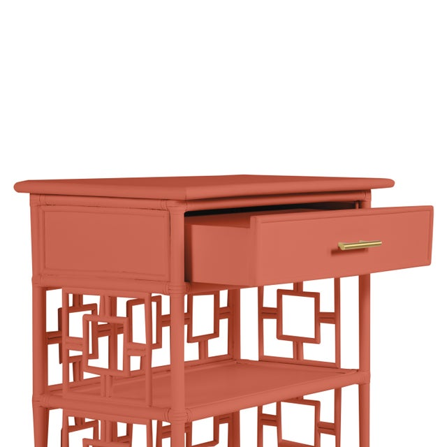 Chinoiserie David Francis Furniture for Chairish Soba End Table, Baked Terra Cotta For Sale - Image 3 of 4