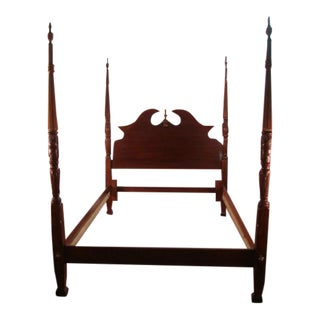 1990s Traditional American Drew Cherry Queen Size Carved Poster Bed For Sale