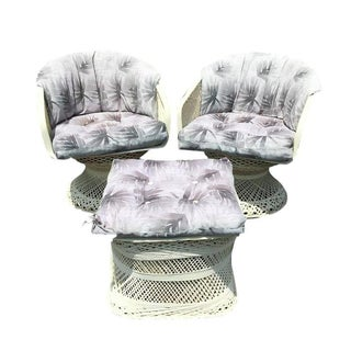 Russell Woodard Chairs With One Ottoman - Set of 3
