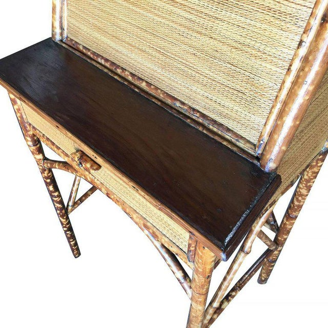 Restored Tiger Bamboo Secretary Desk With Ricemat Covering For Sale - Image 9 of 9