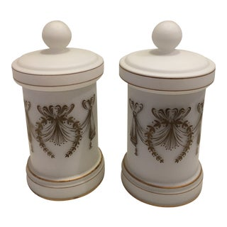 1950s Vintage Cased Glass Apothecary Jars-a Pair For Sale