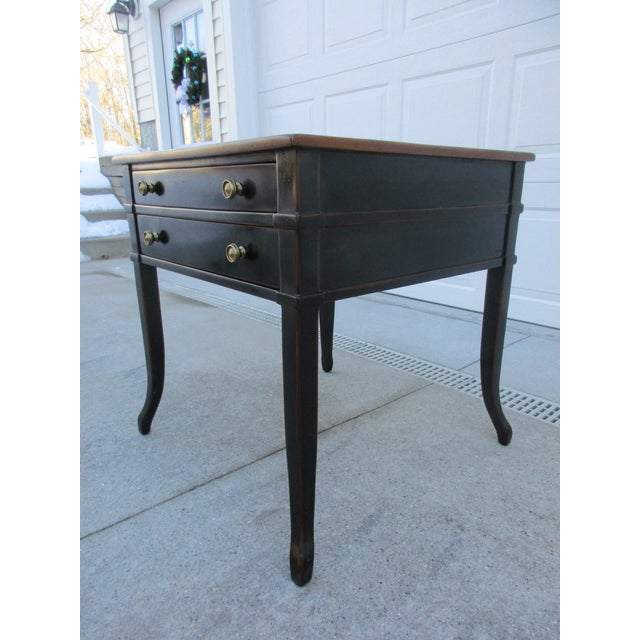Theodore Alexander Antiqued Black Lacquer Side Table For Sale - Image 6 of 13
