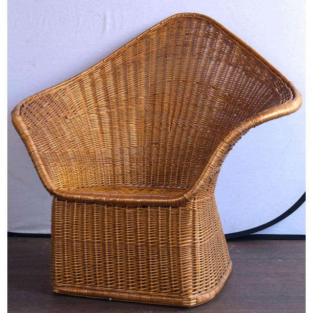 1960s Vintage Mid Century Triangular Wicker/Rattan Armchair and Ottoman For Sale - Image 5 of 17