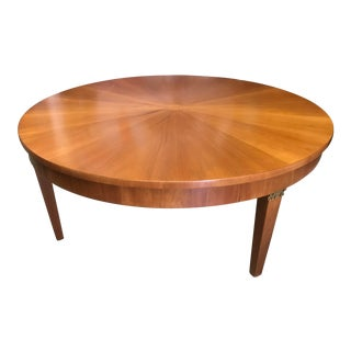 Cherry Wood Round Coffee Table by Baker For Sale