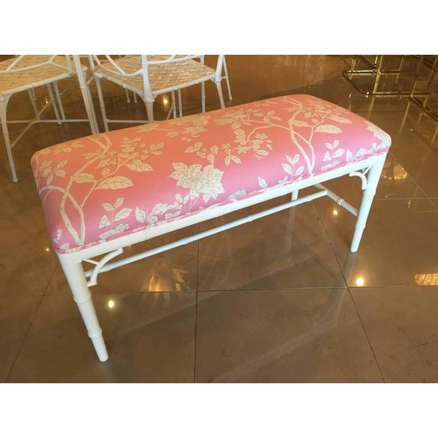 White Faux Bamboo Chinese Chippendale Pink Lacquered Bench For Sale - Image 8 of 10