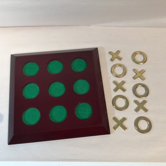 Vintage Cherry Wood & Brass Tic Tac Toe Set - Image 6 of 11