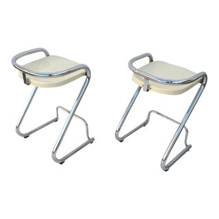 1960s Vintage Chrome Barstools by Börger Lindau & Bo Lindekrantz for Lammhults- A Pair For Sale