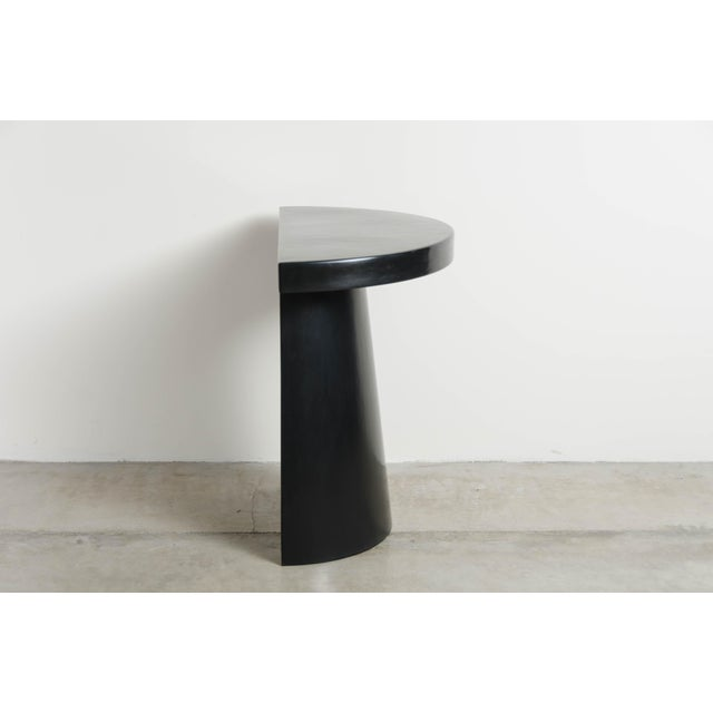 Contemporary Half Moon Hand Repousse Limited Edition Table in Black Lacquer by Robert Kuo For Sale - Image 3 of 6