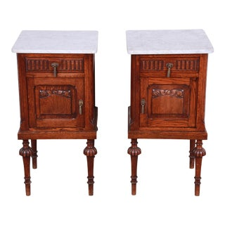19th Century Victorian Carved Oak Marble Top Nightstands, Pair For Sale