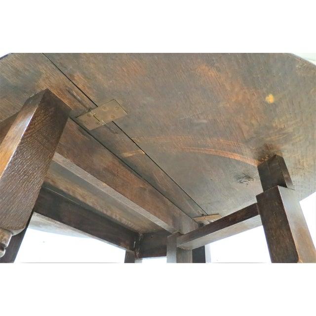 Wood English Drop Leaf Gate Leg Tiger Oak Apartment Table For Sale - Image 7 of 10