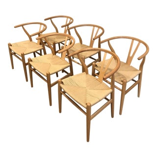 Modern Wishbone Natural Ash Side Chair - Set of 6 For Sale