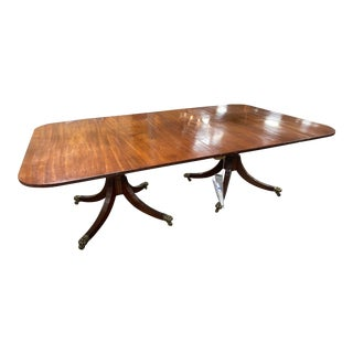 George III Double Pedestal Mahogany Dining Table For Sale