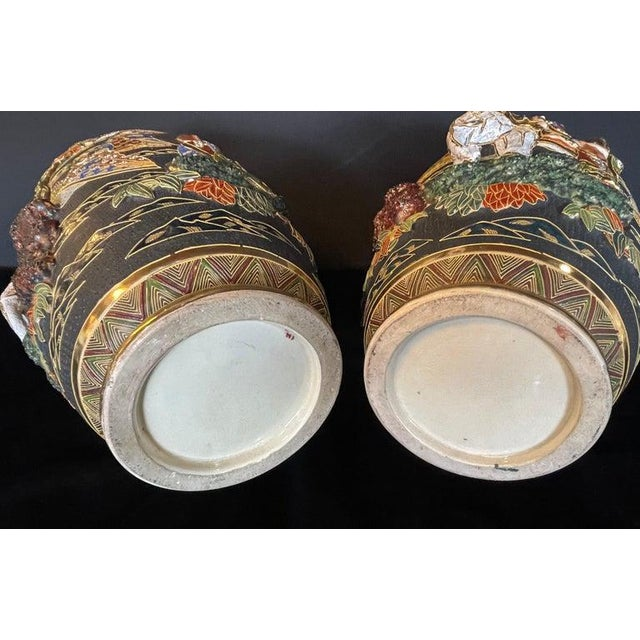 Pair of Antique Japanese Satsuma Vases Figural Scenes For Sale In New York - Image 6 of 13