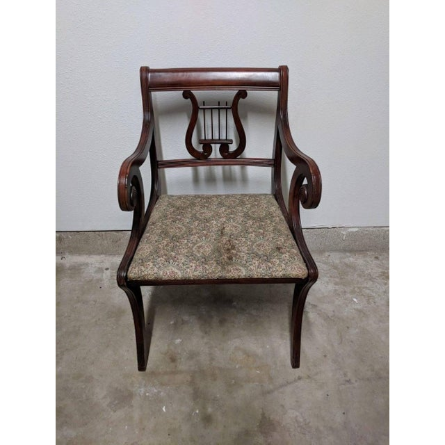 1940s Americana Lyre Dining Chairs - Set of 6 For Sale - Image 4 of 7